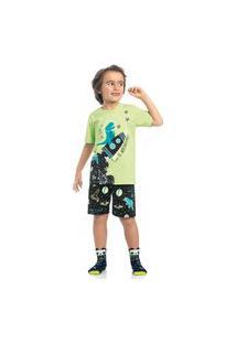 Pijama Juvenil Menino Dinossauro Algodão Kamylus 12190 Verde