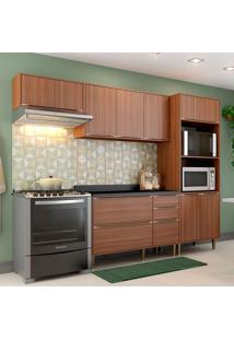 Cozinha Compacta Calábria Com Tampo 9 Portas Nogueira - Multimóveis