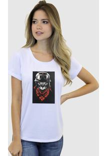 Camiseta Baby Look Feminina Basica Suffix Branca Estampa Tecido Sobreposto Gatinho Strass Gola Redonda - Tricae