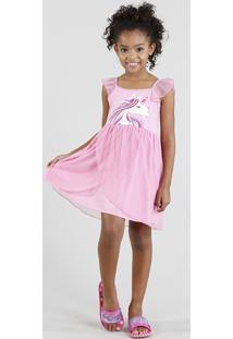 Camisola Infantil Unicórnio Com Tule Sem Manga Rosa