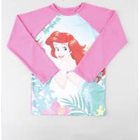 6a56bcc4a Blusa De Praia Infantil Pequena Sereia Ariel Raglan Manga Longa Com  Proteção Uv50+ Rosa