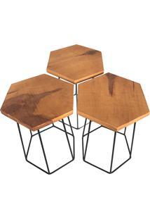 Conjunto Com 3 Banquinhos Hexa Linear– Oficina Barnello - Preto