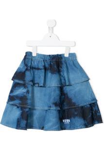 Msgm Kids Saia Com Estampa Tie Dye - Azul