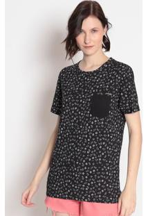Camiseta Floral Com Bolso- Preta & Branca- Sommersommer