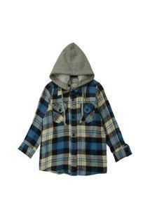 Camisa Xadrez Infantil Com Capuz Removível Masculina Azul