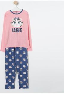 "Pijama ""Love"" Oncinha- Rosa Claro & Azul Marinho- Pupuket"