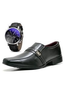 Sapato Social Com Relógio Dubuy 806Mr Preto