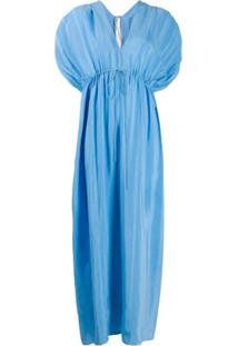 Stella Mccartney Vestido Longo Com Decote V Profundo - Azul