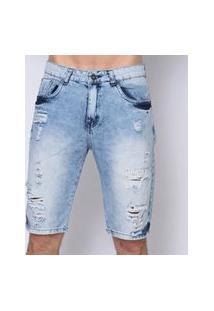 Bermuda Masculina Jeans Blue Ripped
