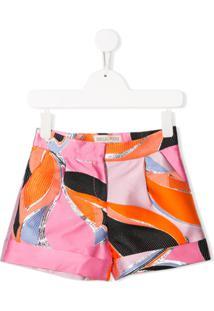 Emilio Pucci Junior Metallic Print Shorts - Rosa