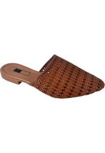 Mule Slipper Sapatoweb Tranças Feminino - Feminino-Marrom