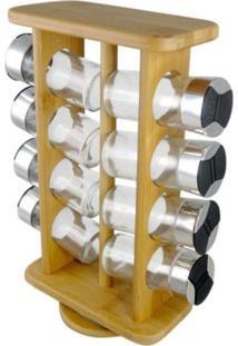 Porta Condimentos, Temperos E Especiarias Giratorio Em Bambu Com 08 Potes Em Vidro
