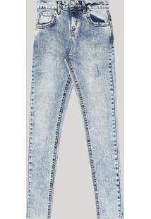 Calça Jeans Juvenil Skinny Marmorizada Azul Médio