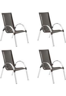 Conjunto Com 4 Cadeiras Driely Marrom