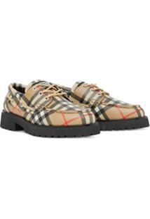 Burberry Kids Sapato Com Xadrez Clássico E Cadarço - Neutro