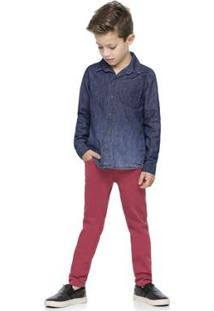 Camisa Infantil Quimby Jeans Masculina - Masculino-Azul