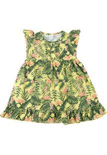 Vestido Infantil Tricoline Estampa Digital Folhagem - Amarelo 3