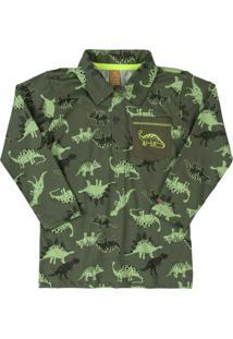 Camisa Polo Manga Longa Dinossauro Verde