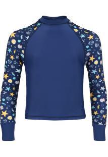 Camiseta Manga Longa Com Proteção Solar Oxer Shell Feminina - Infantil - Azul Esc/Azul Cla