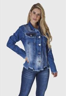 Jaqueta Jeans Hno Jeans Feminina - Feminino-Azul