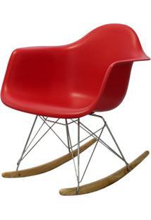 Cadeira Eames Com Braco Base Balanco Vermelho Fosco - 24502 - Sun House