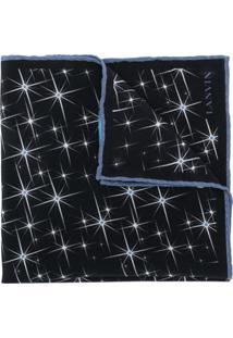 Lanvin Cachecol De Seda Com Estampa De Estrelas - Preto