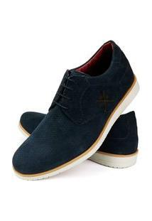 Sapato Oxford Masculino Couro Conforto Camurça Marinho