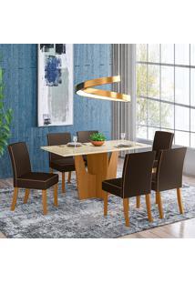 Conjunto De Mesa Com 6 Cadeiras Para Sala De Jantar Vitoria-Henn - Nature / Off White / Marrom