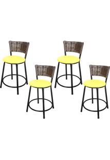 Banquetas Baixa Para Cozinha Hawai Café 4Un Assento Marrom/Amarelo