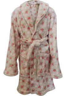 Roupão Infantil De Microfibra Flannel - Appel - Roses
