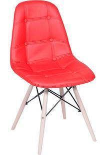 Cadeira Eames Botonê- Vermelha & Madeira Clara- 83X4Or Design