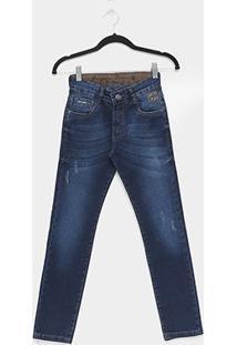 Calça Jeans Infantil Gangster Estonada Masculina - Masculino-Azul