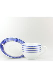 Conjunto De Xícaras Para Café C/ Pires Porcelana Schmidt 06 Peças - Dec. Paula