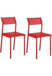 Conjunto 2 Cadeiras Carraro 1709 - Vermelho Real/Napa Vermelho Real