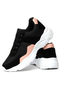 Tênis Sneaker Impulsion X-Try Feminino Preto E Rosa