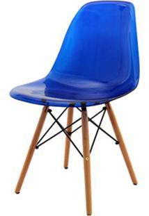 Cadeira Eames Policarbonato Azul Base Madeira 18684 - Sun House