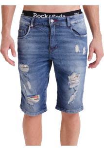 Bermuda Rock&Soda Masculina Skinny Jeans Destroyed Casual Azul Escuro 36