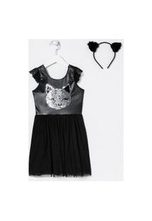 Vestido Infantil Com Saia De Tule Estampa Gatinho De Paetê - Tam 5 A 14 Anos | Fuzarka (5 A 14 Anos) | Preto | 5-6