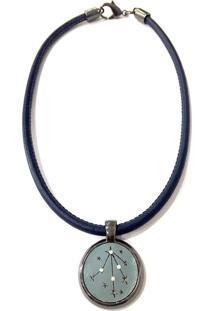 Colar Armazem Rr Bijoux Couro Estrela Com Cristais Azul Marinho - Kanui