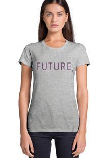 Camiseta Feminina Joss Future Roxo Cinza Mescla