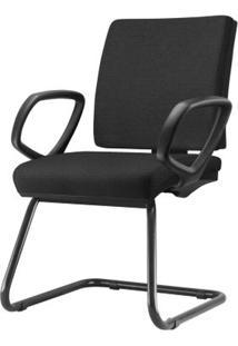 Cadeira Simple Com Braco Fixo Assento Courino Base Fixa Preta - 54976 - Sun House