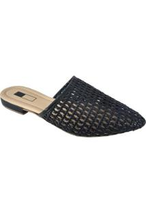 Mule Slipper Sapatoweb Perfurado Feminino - Feminino-Preto