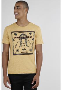 """Camiseta Masculina Listrada """"Indian Nations"""" Manga Curta Gola Careca Caramelo"""