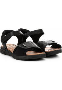 Sandália Comfortflex Papete Velcro Feminina - Feminino-Preto