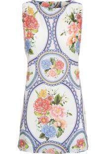 Vestido Quadrado Espelho De Cor - Azul