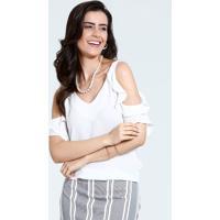f767d2267d Blusa Feminina Babados Open Shoulder Marisa