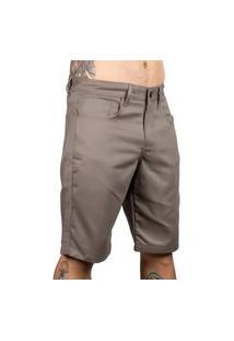 Bermuda De Sarja Skinny Masculina Cinza Slim