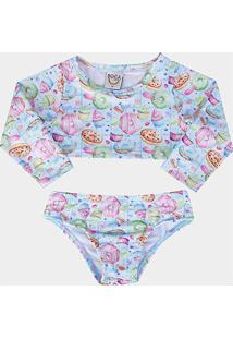 Conjunto Infantil Boca Grande Cropped E Calcinha C/ Proteção Uv 50+ - Feminino-Azul Claro