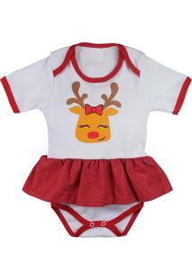 Body Saia De Bebê Natal Rena Branco E Vermelho