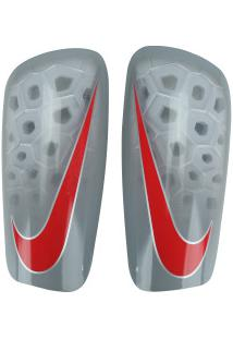 Caneleira De Futebol Nike Mercurial Lite Grid - Adulto - Cinza Claro